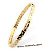 babr020 Cute sparkly brass Bangle/Bracelet with 14K yellow gold plating