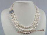 bapn001 Baroque Akoya saltwater cultured pearl necklace triple strand Rope