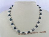 bapn007 Black&white baroque saltwater pearl single necklace