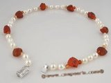 bapn008 White baroque saltwater pearl and red agate necklace jewelry
