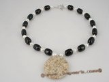 bapn010 Black agate and baroque akoya pearl neckalce wholesale