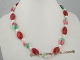 bapn012 Baroque seawater pearl and red jade princess necklace