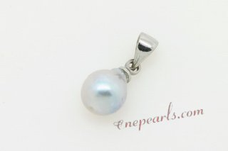 Bapn017 Grey Unique Baroque Akoya pearl Silver toned Pendant Necklace