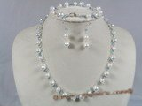 bapnset008 Baroque cultured akoya pearls with Austrian crystals necklace earrings set