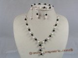 bapnset009 Y style Baroque cultured akoya pearls with black agate necklace set