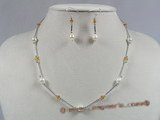 bapnset012 sterling baroque Akoya Pearl with crystal Tin cup necklace