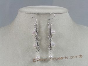 bapnset014 7-7.5mm AAA+ white round salt water pearl necklace earrings set