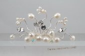 bcj057 Modern seed pearl and crystal side or back flower comb