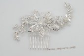 bcj058 flexible plate silver wire with rhinestones bridal comb on sale