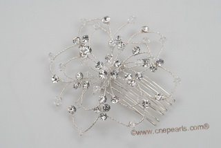 bcj060 flexible plate silver wire with rhinestones bridal comb on sale