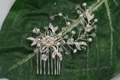 bcj061 Hand-crafted crystal flower bridal comb with seed pearl