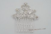 bcj062 flexible plate silver wire bridal comb with rhinestones