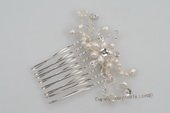 bcj064 Freshwater seed pearl and crystal side or back flower comb