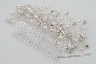bcj068 Hand-wired freshwater seed pearls and crystal bridal comb