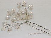 bcj079  Hand-crafted freshwater pearl  flower bridal head pin