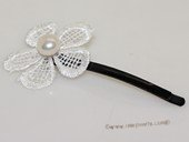 bcj082  Hand-embellished freshwater pearl silver tone lace hair clip