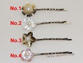 bcj086 Shell flower hair snap clips pearl bridal accessory