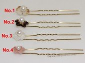 bcj087 Shell flower hair pin pearl bridal accessory