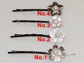 bcj088 Shell flower hair snap clips pearl bridal accessory
