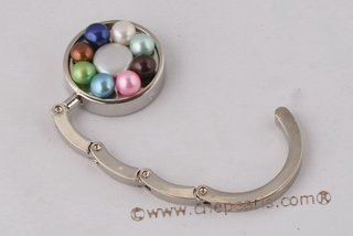 Bhk001 Stainless Steel and Colorful Pearl Round Folding Bag Hook