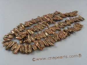 biwa004 7*20mm coffee biwa pearsl strand strands