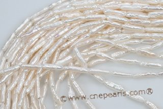 biwa046 White 4*14mm Long-drilled Freshwater Biwa/Stick Pearl Strand