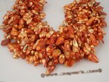 blister1015 wholesale medium orange  9-10mm baroque blister freshwater pearl, five strand