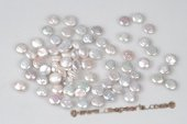 BLpb080 10pcs 8-9mm White Undrilled Loose Coin Pearl Beads