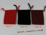 box023 100pcs 7mmx5mm velvet pouches in different color