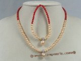 bpnset003 Fine seed pearl and coral children necklace jewelry set