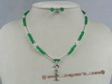 bpnset006 Children fashion pearl and jade beads tin-cup necklace set