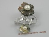brooch005 flower design freshwater pearl brooch with 18kgp mountting