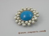 brooch008 Beautiful turquoise beads with pearl Brooch set in 18KGP mounting