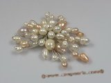 brooch009 18K GP multicolor freshwater pearl chandelier brooch