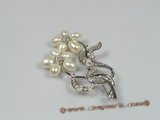 brooch016 18KGP freshwater pearl brooches with zircon beads