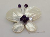 brooch100 60mm  blooming flower design shell  brooch Pin with amethyst