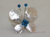 brooch102 60mm  blooming flower design shell  brooch Pin with blue turquoise