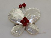 brooch103 60mm  blooming flower design shell  brooch Pin with  red coral