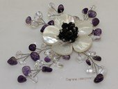 Brooch104 Designer  Amethyst beadsl and Clear Crystal Shell Brooch