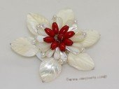brooch106 65mm  blooming flower shell  brooch Pin with red coral