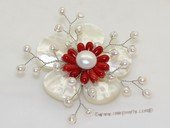 brooch108 70mm  blooming flower shell  brooch Pin with freshwater pearl