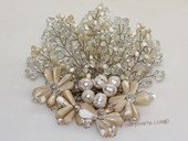 brooch113 Silver Toned Crystal Bead and Shell Chandelier Brooch