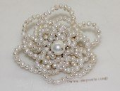 brooch117 Silver Toned Freshwater Potato Pearl Chandelier Brooch