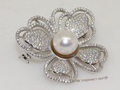 brooch125 Freshwater Pearl Sterling Silver Brooch with Zircon Beads