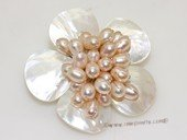 Brooch130 Culster Flower deisger freshwater pearl brooch in wholesale