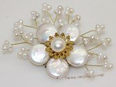 brooch132 Elegance white coin pearl wedding pin brooch in wholesale