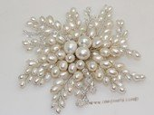 brooch133 Silver Toned Freshwater Rice Pearl Chandelier Brooch