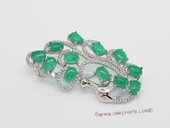 brooch157 Fashion Green Jade Greenstone Silver Tone Brooch
