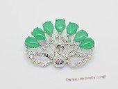 brooch158 Peacock Shape Silver tone  Brooch with Jade Gemstone
