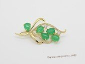 brooch159 Fashion Green Jade Greenstone Gold Tone Brooch